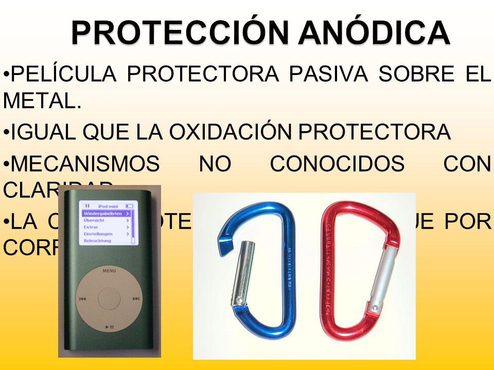 PELÍCULA PROTECTORA PASIVA SOBRE EL METAL. IGUAL QUE LA OXIDACIÓN PROTECTORA MECANISMOS NO CONOCIDOS CON CLARIDAD. LA CAPA PROTECTORA SE CONSIGUE POR
