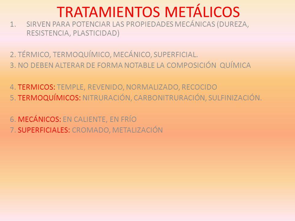 TRATAMIENTOS METÁLICOS 1.SIRVEN PARA POTENCIAR LAS PROPIEDADES MECÁNICAS (DUREZA, RESISTENCIA, PLASTICIDAD) 2. TÉRMICO, TERMOQUÍMICO, MECÁNICO, SUPERF