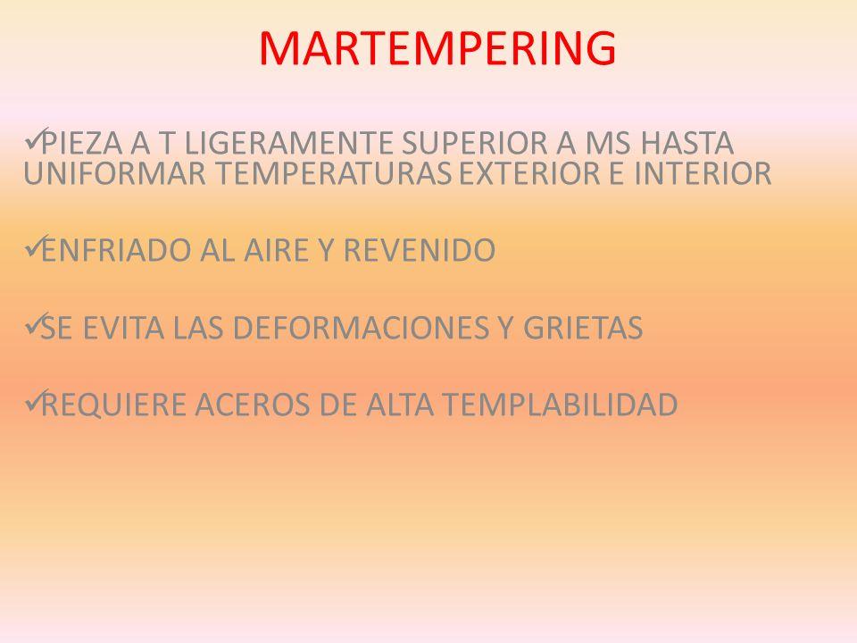 MARTEMPERING PIEZA A T LIGERAMENTE SUPERIOR A MS HASTA UNIFORMAR TEMPERATURAS EXTERIOR E INTERIOR ENFRIADO AL AIRE Y REVENIDO SE EVITA LAS DEFORMACION