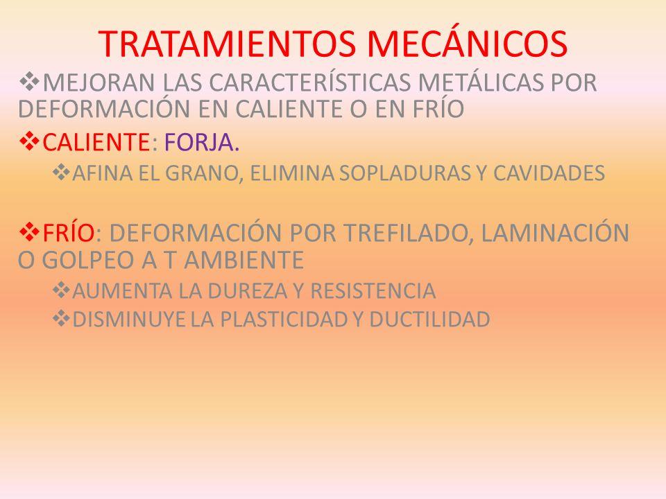 TRATAMIENTOS MECÁNICOS MEJORAN LAS CARACTERÍSTICAS METÁLICAS POR DEFORMACIÓN EN CALIENTE O EN FRÍO CALIENTE: FORJA. AFINA EL GRANO, ELIMINA SOPLADURAS