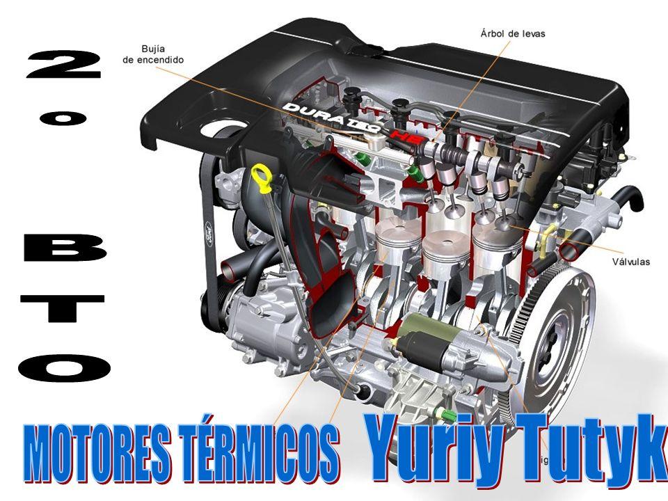 3.-Potencia Durante la carrera de potencia, se cierran las válvulas a medida que la fuerza de la combustión empuja hacia abajo el pistón y la biela, lo que hace girar el cigüeñal.