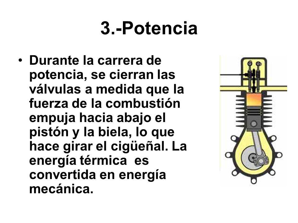 3.-Potencia Durante la carrera de potencia, se cierran las válvulas a medida que la fuerza de la combustión empuja hacia abajo el pistón y la biela, l