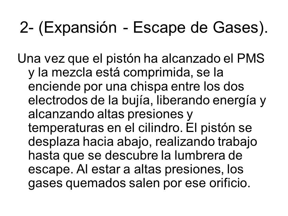 2- (Expansión - Escape de Gases). Una vez que el pistón ha alcanzado el PMS y la mezcla está comprimida, se la enciende por una chispa entre los dos e