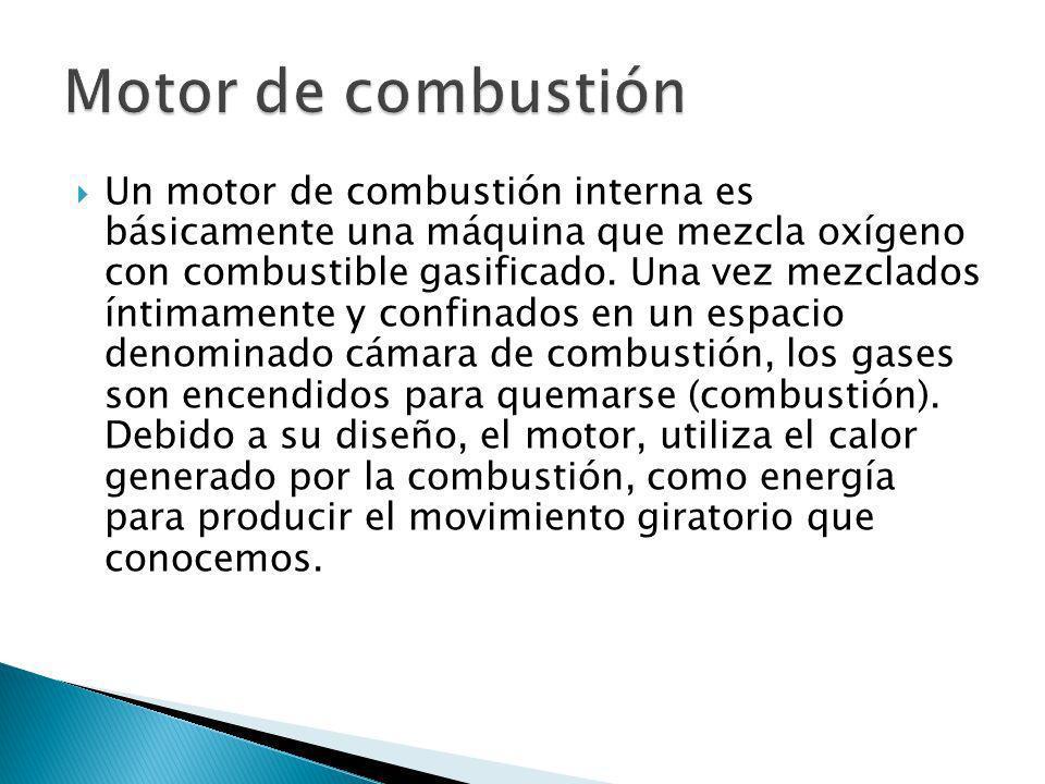 Un motor de combustión interna es básicamente una máquina que mezcla oxígeno con combustible gasificado. Una vez mezclados íntimamente y confinados en