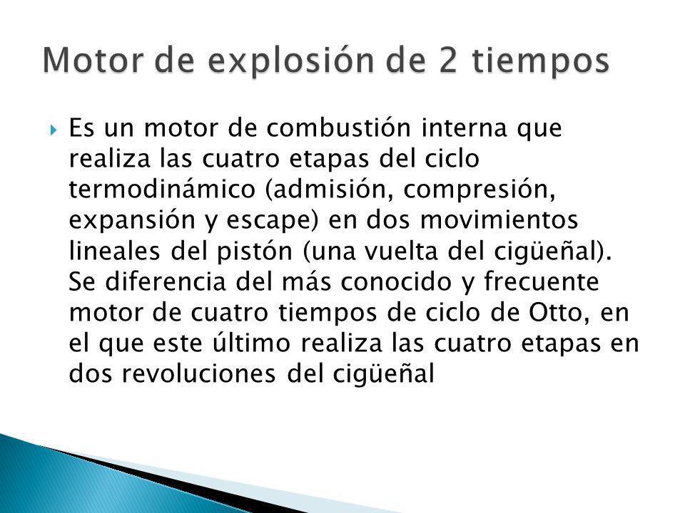 Es un motor de combustión interna que realiza las cuatro etapas del ciclo termodinámico (admisión, compresión, expansión y escape) en dos movimientos
