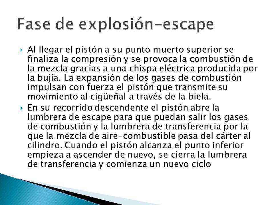 Al llegar el pistón a su punto muerto superior se finaliza la compresión y se provoca la combustión de la mezcla gracias a una chispa eléctrica produc