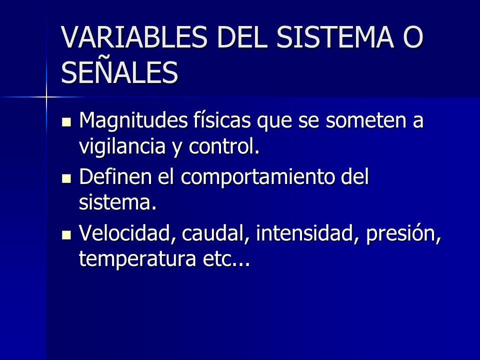 VARIABLES DEL SISTEMA O SEÑALES Magnitudes físicas que se someten a vigilancia y control. Magnitudes físicas que se someten a vigilancia y control. De