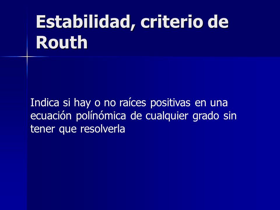 Estabilidad, criterio de Routh Indica si hay o no raíces positivas en una ecuación polínómica de cualquier grado sin tener que resolverla