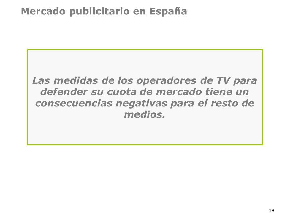 18 Las medidas de los operadores de TV para defender su cuota de mercado tiene un consecuencias negativas para el resto de medios. Mercado publicitari