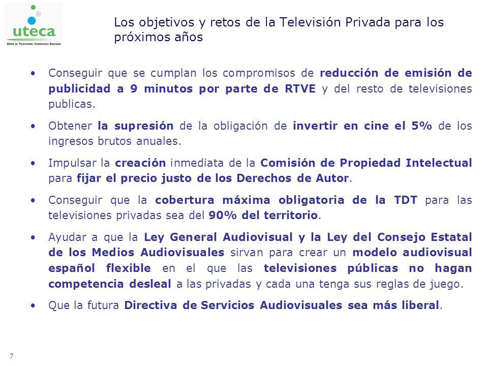 7 Los objetivos y retos de la Televisión Privada para los próximos años Conseguir que se cumplan los compromisos de reducción de emisión de publicidad a 9 minutos por parte de RTVE y del resto de televisiones publicas.
