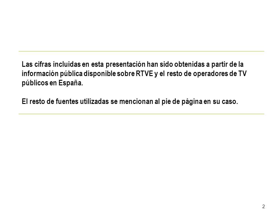 2 Las cifras incluidas en esta presentación han sido obtenidas a partir de la información pública disponible sobre RTVE y el resto de operadores de TV públicos en España.
