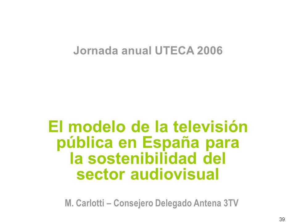39 El modelo de la televisión pública en España para la sostenibilidad del sector audiovisual Jornada anual UTECA 2006 M. Carlotti – Consejero Delegad