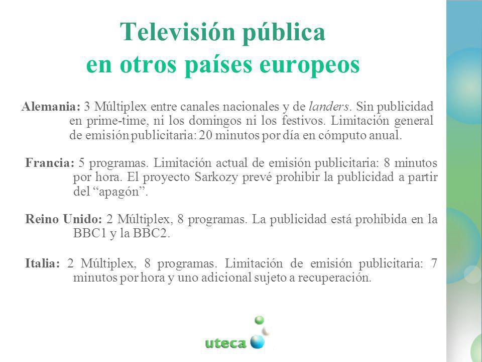 Televisión pública en otros países europeos Alemania: 3 Múltiplex entre canales nacionales y de landers.