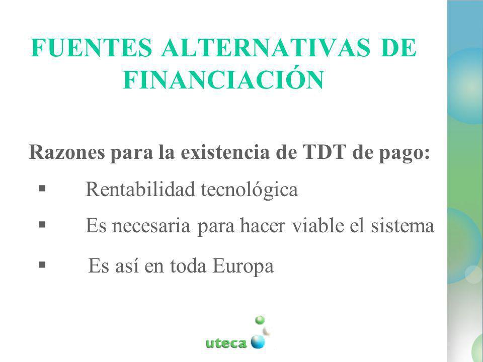 FUENTES ALTERNATIVAS DE FINANCIACIÓN Razones para la existencia de TDT de pago: Rentabilidad tecnológica Es necesaria para hacer viable el sistema Es así en toda Europa