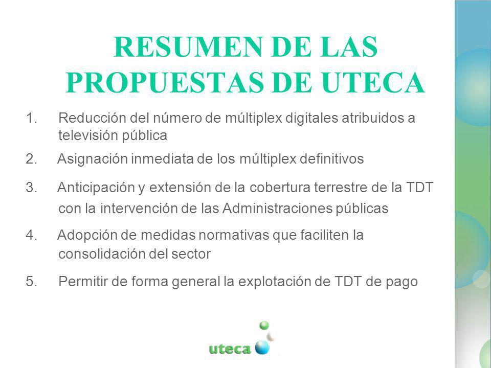 RESUMEN DE LAS PROPUESTAS DE UTECA 1.Reducción del número de múltiplex digitales atribuidos a televisión pública 2.