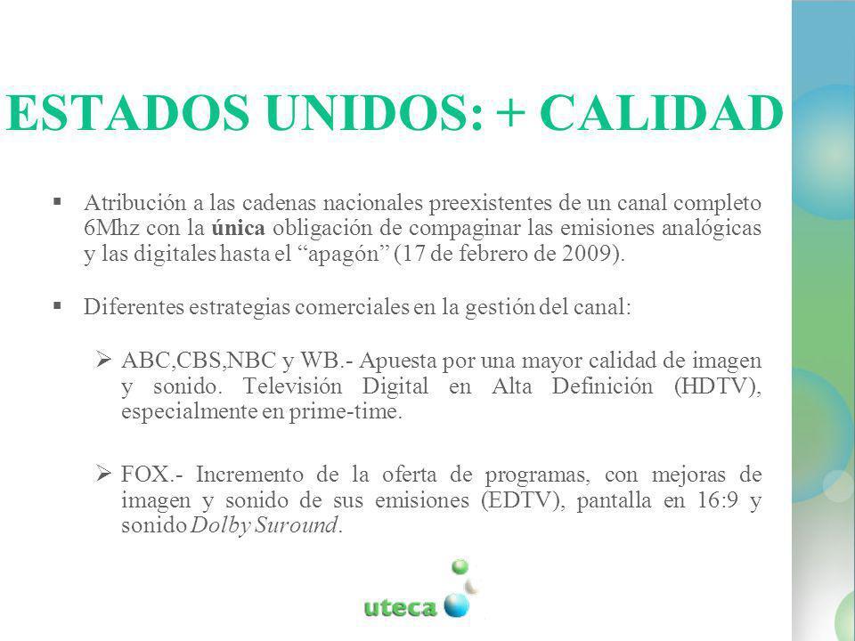 ESTADOS UNIDOS: + CALIDAD Atribución a las cadenas nacionales preexistentes de un canal completo 6Mhz con la única obligación de compaginar las emisiones analógicas y las digitales hasta el apagón (17 de febrero de 2009).