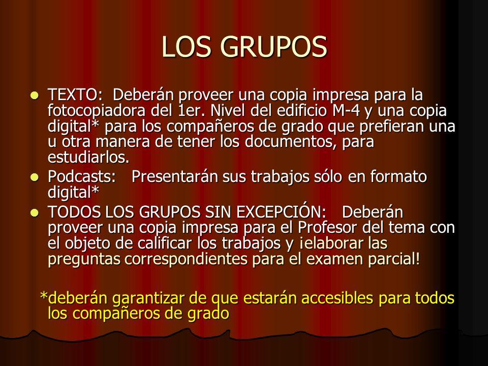 LOS GRUPOS TEXTO: Deberán proveer una copia impresa para la fotocopiadora del 1er. Nivel del edificio M-4 y una copia digital* para los compañeros de