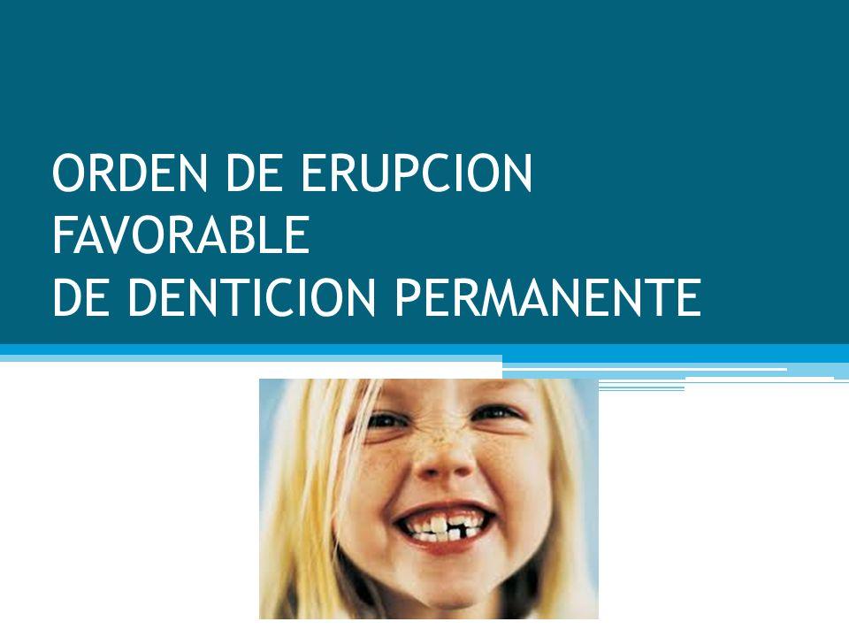 ORDEN DE ERUPCION FAVORABLE DE DENTICION PERMANENTE