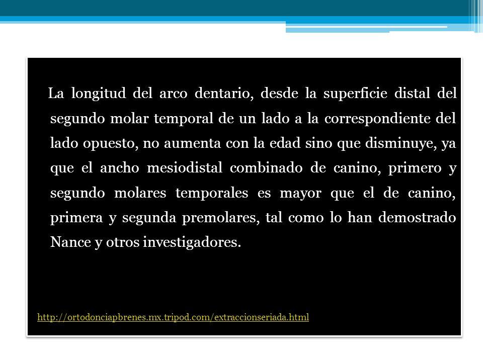 La longitud del arco dentario, desde la superficie distal del segundo molar temporal de un lado a la correspondiente del lado opuesto, no aumenta con