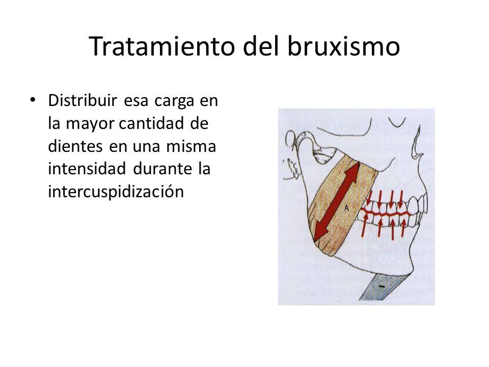 Tratamiento del bruxismo Distribuir esa carga en la mayor cantidad de dientes en una misma intensidad durante la intercuspidización