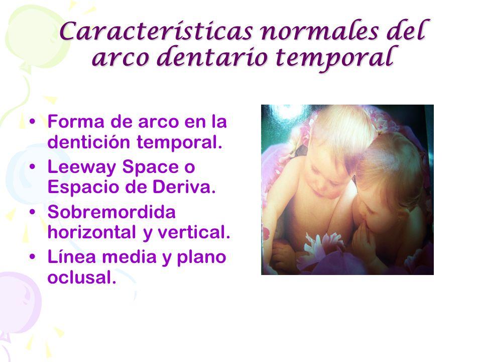 Forma de arco en la dentición temporal. Leeway Space o Espacio de Deriva. Sobremordida horizontal y vertical. Línea media y plano oclusal.