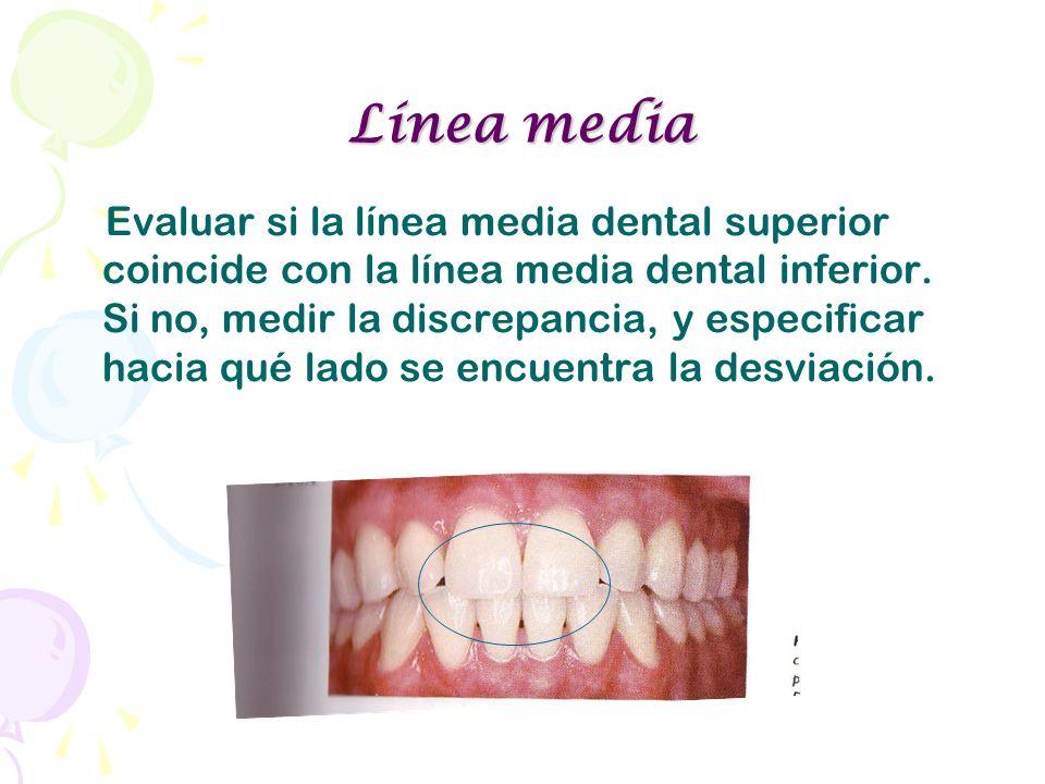 Línea media Evaluar si la línea media dental superior coincide con la línea media dental inferior. Si no, medir la discrepancia, y especificar hacia q