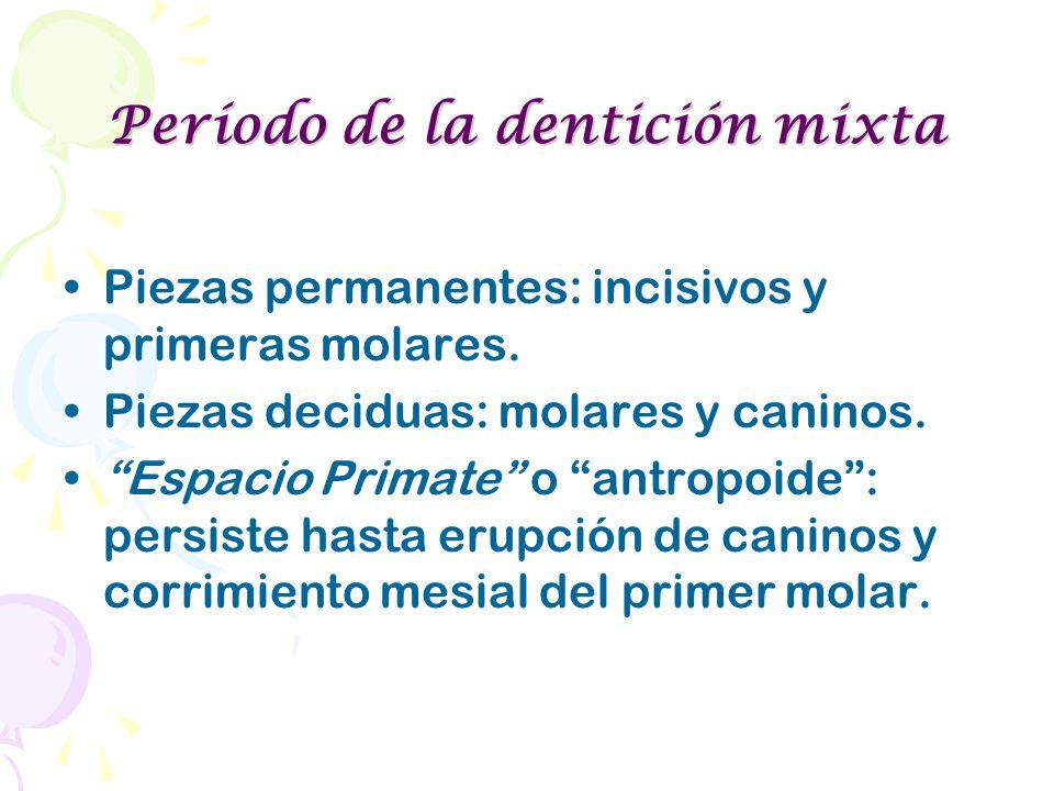 Período de la dentición mixta Piezas permanentes: incisivos y primeras molares. Piezas deciduas: molares y caninos. Espacio Primate o antropoide: pers