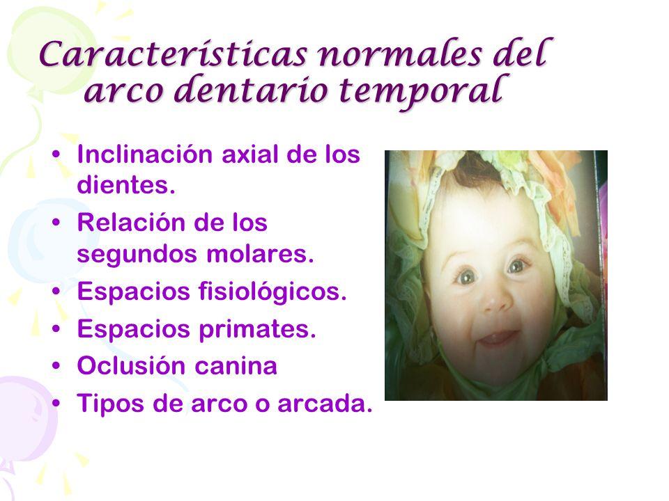 Inclinación axial de los dientes. Relación de los segundos molares. Espacios fisiológicos. Espacios primates. Oclusión canina Tipos de arco o arcada.