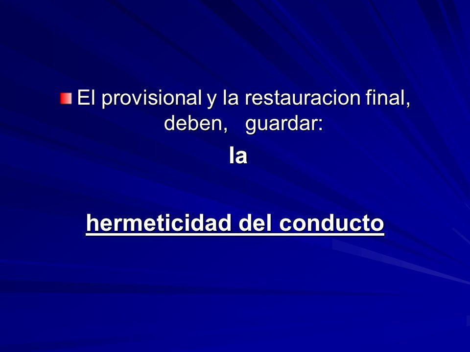 El provisional y la restauracion final, deben, guardar: la la hermeticidad del conducto