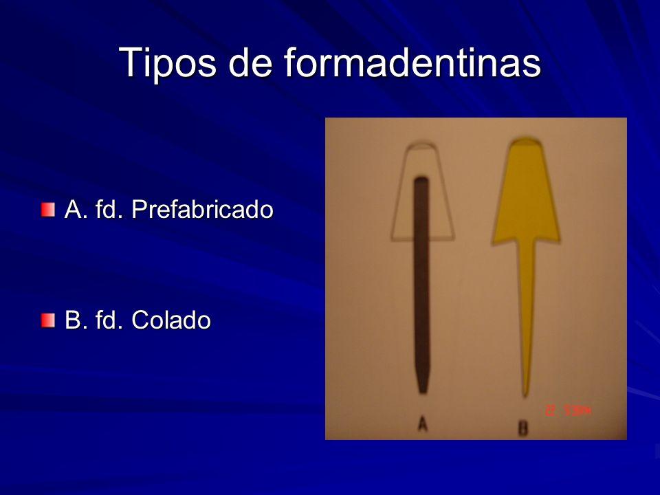 Tipos de formadentinas A. fd. Prefabricado B. fd. Colado