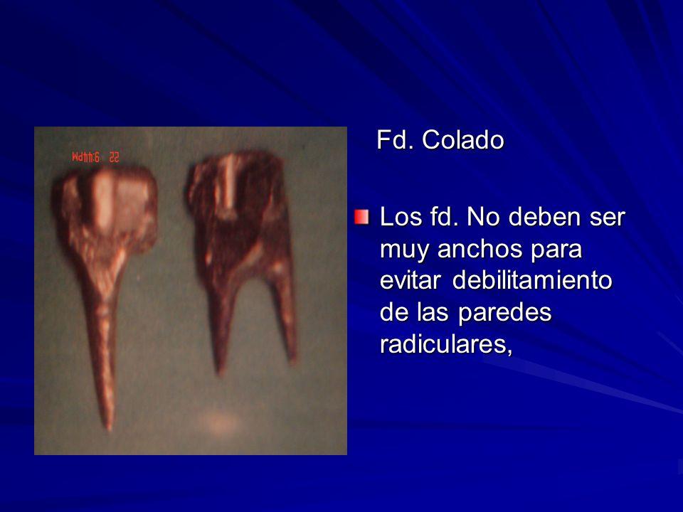 Fd. Colado Fd. Colado Los fd. No deben ser muy anchos para evitar debilitamiento de las paredes radiculares,