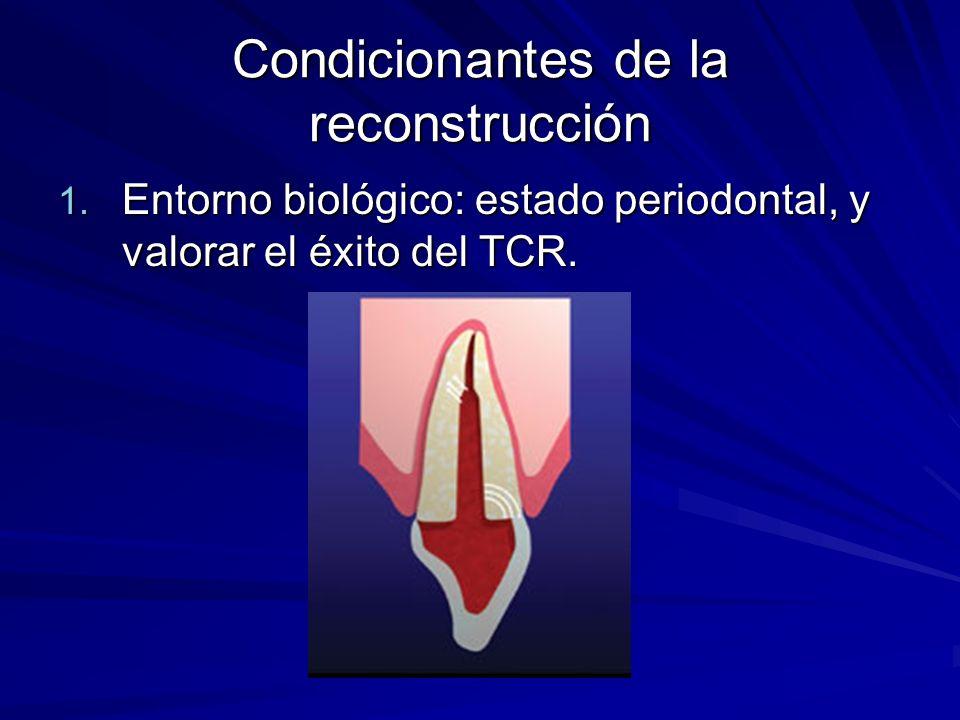 Condicionantes de la reconstrucción 1. Entorno biológico: estado periodontal, y valorar el éxito del TCR.