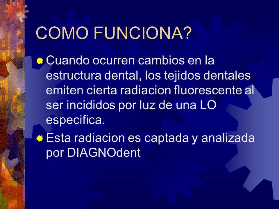 COMO FUNCIONA? Cuando ocurren cambios en la estructura dental, los tejidos dentales emiten cierta radiacion fluorescente al ser incididos por luz de u