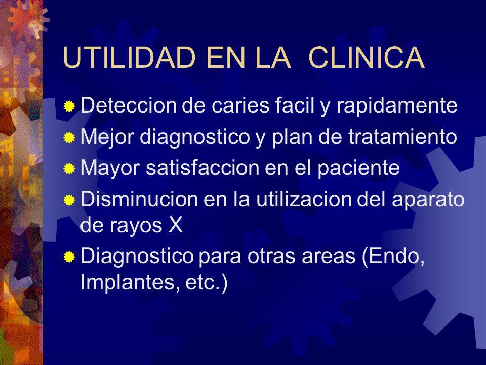 UTILIDAD EN LA CLINICA Deteccion de caries facil y rapidamente Mejor diagnostico y plan de tratamiento Mayor satisfaccion en el paciente Disminucion e