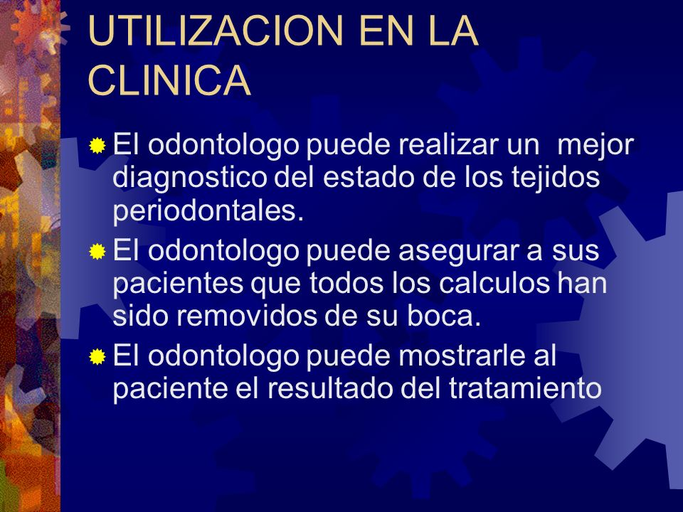 UTILIDAD EN LA CLINICA Deteccion de caries facil y rapidamente Mejor diagnostico y plan de tratamiento Mayor satisfaccion en el paciente Disminucion en la utilizacion del aparato de rayos X Diagnostico para otras areas (Endo, Implantes, etc.)