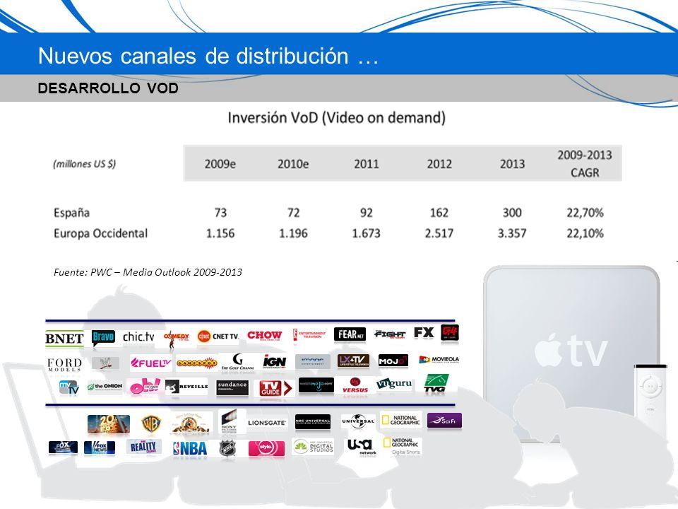 Nuevos canales de distribución … DESARROLLO VOD INCREMENTO ACCESO BANDA ANCHA Fuente: PWC – Media Outlook 2009-2013