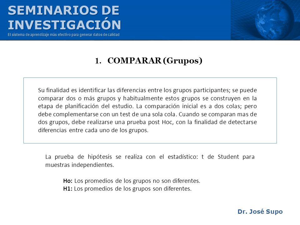 Dr. José Supo Su finalidad es identificar las diferencias entre los grupos participantes; se puede comparar dos o más grupos y habitualmente estos gru