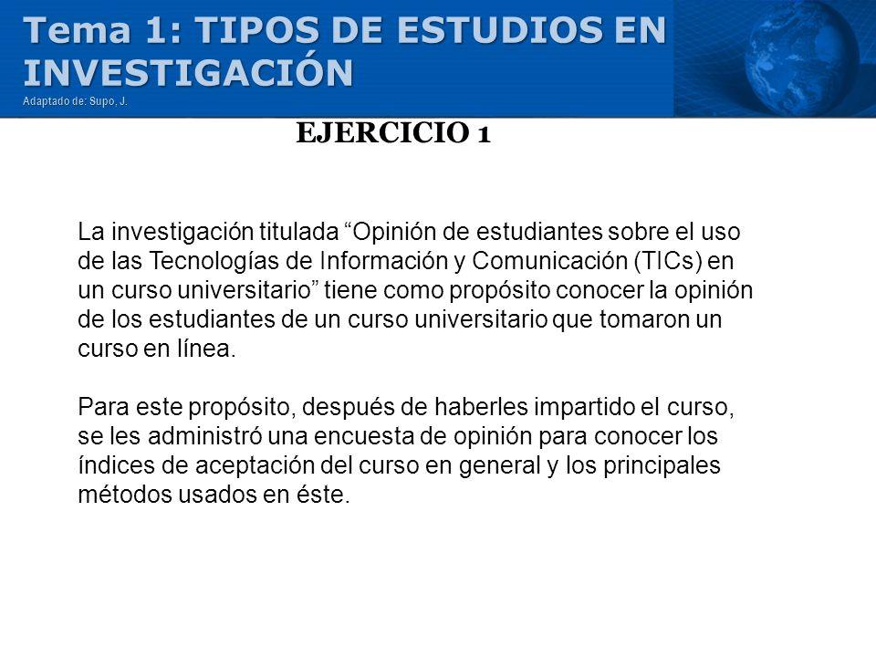 EJERCICIO 1 Tema 1: TIPOS DE ESTUDIOS EN INVESTIGACIÓN Adaptado de: Supo, J. La investigación titulada Opinión de estudiantes sobre el uso de las Tecn