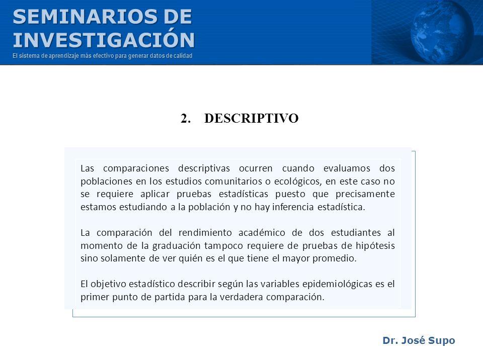 Dr. José Supo 2. DESCRIPTIVO Las comparaciones descriptivas ocurren cuando evaluamos dos poblaciones en los estudios comunitarios o ecológicos, en est