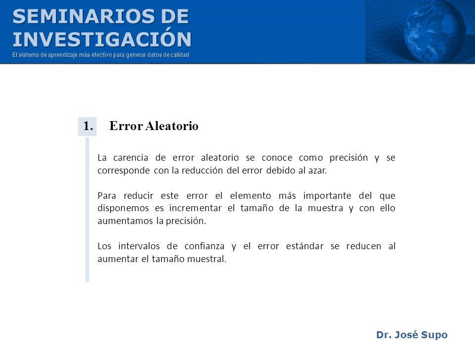 Dr. José Supo 1. Error Aleatorio La carencia de error aleatorio se conoce como precisión y se corresponde con la reducción del error debido al azar. P