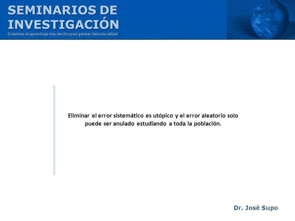 Eliminar el error sistemático es utópico y el error aleatorio solo puede ser anulado estudiando a toda la población. Dr. José Supo SEMINARIOS DE INVES