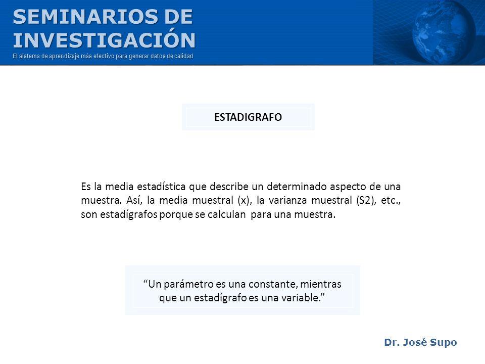 Dr. José Supo Es la media estadística que describe un determinado aspecto de una muestra. Así, la media muestral (x), la varianza muestral (S2), etc.,