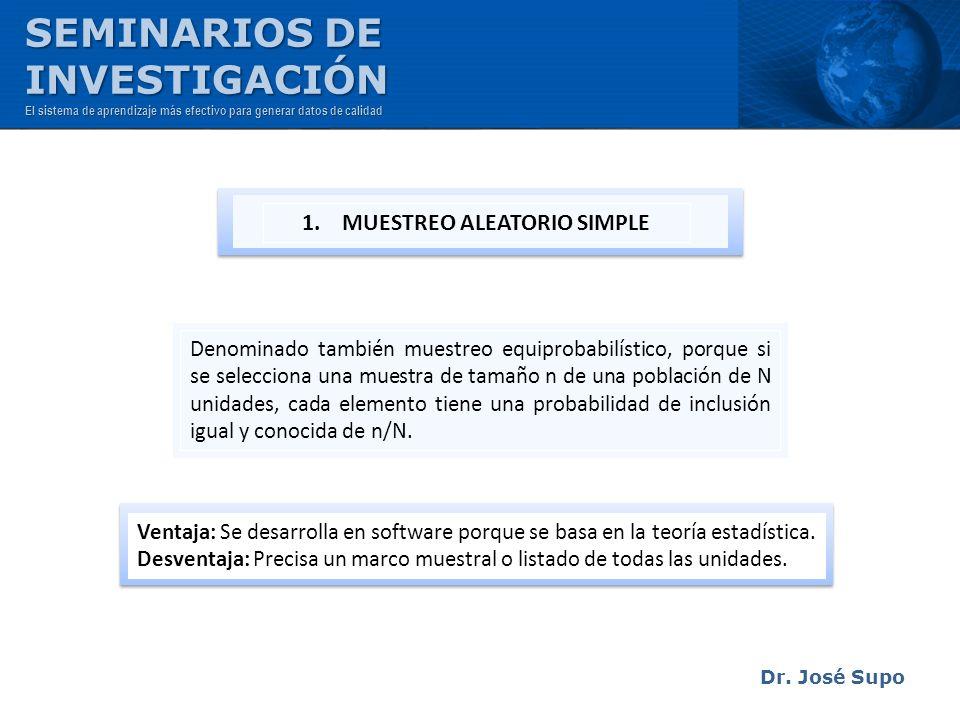 Dr. José Supo Denominado también muestreo equiprobabilístico, porque si se selecciona una muestra de tamaño n de una población de N unidades, cada ele