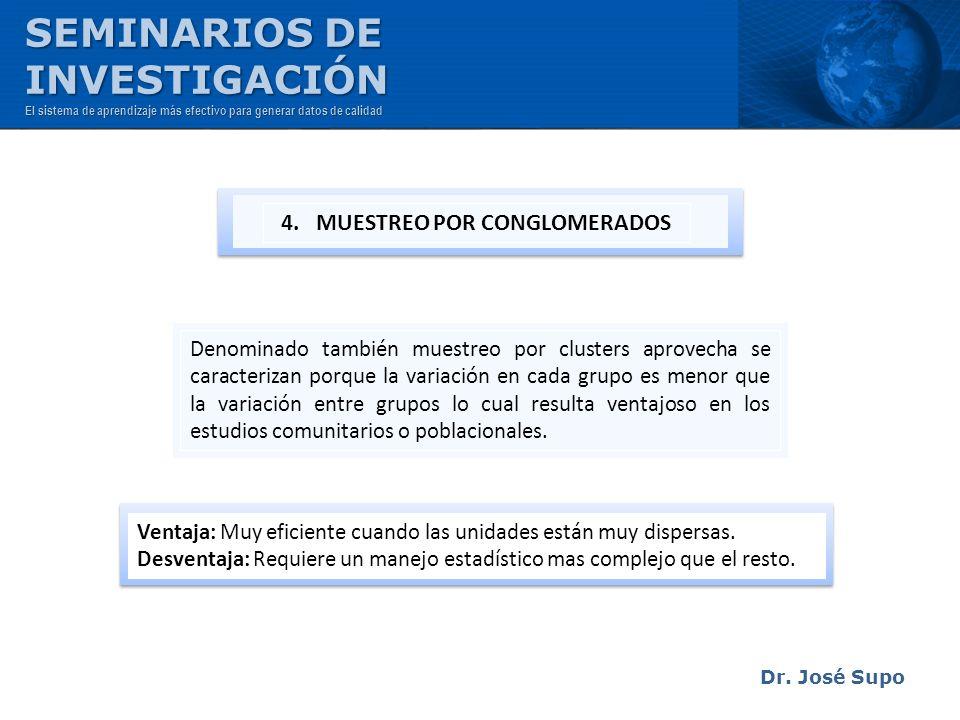 Dr. José Supo Denominado también muestreo por clusters aprovecha se caracterizan porque la variación en cada grupo es menor que la variación entre gru
