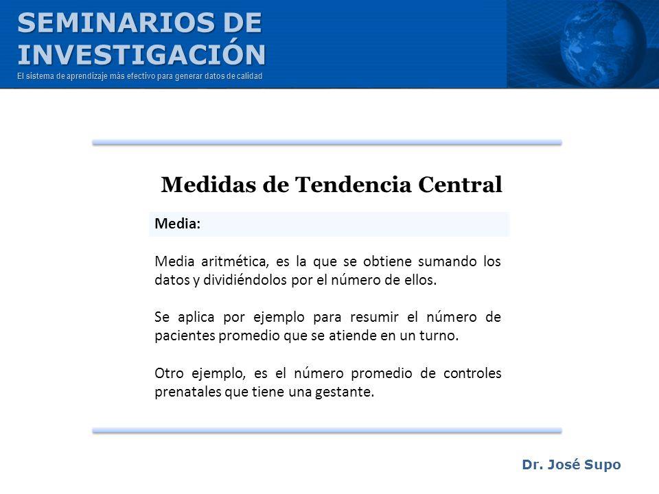 Dr. José Supo Medidas de Tendencia Central Media: Media aritmética, es la que se obtiene sumando los datos y dividiéndolos por el número de ellos. Se