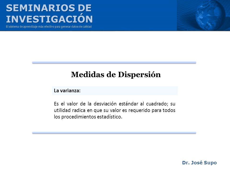 Dr. José Supo Medidas de Dispersión La varianza: Es el valor de la desviación estándar al cuadrado; su utilidad radica en que su valor es requerido pa