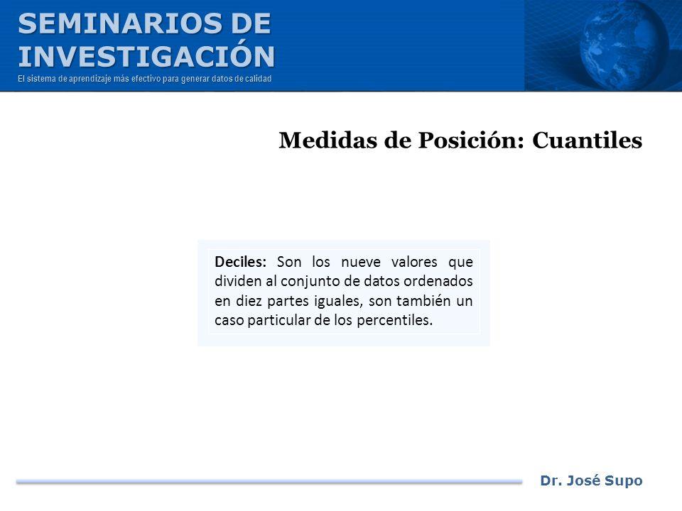 Dr. José Supo Medidas de Posición: Cuantiles Deciles: Son los nueve valores que dividen al conjunto de datos ordenados en diez partes iguales, son tam