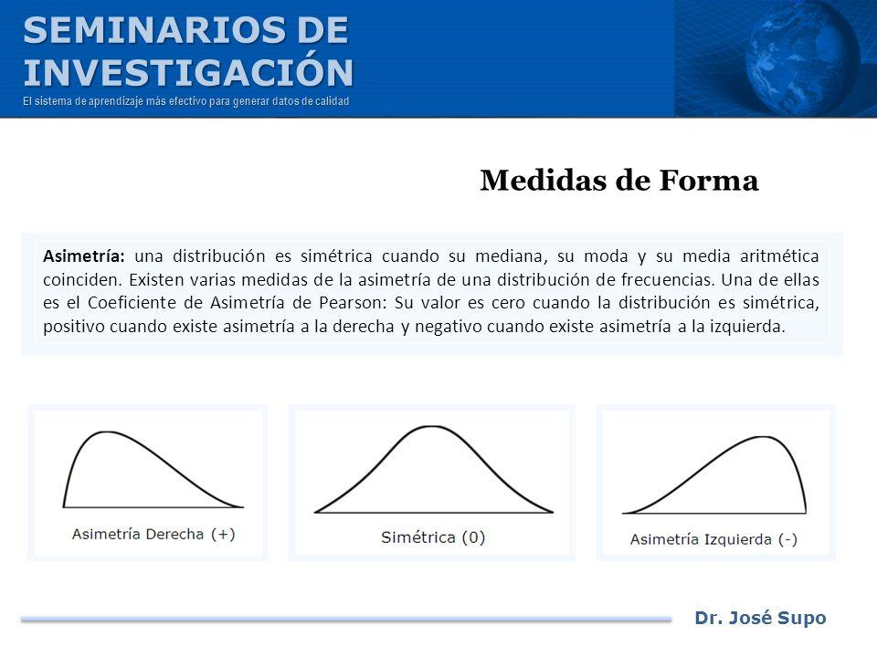 Dr. José Supo Medidas de Forma Asimetría: una distribución es simétrica cuando su mediana, su moda y su media aritmética coinciden. Existen varias med