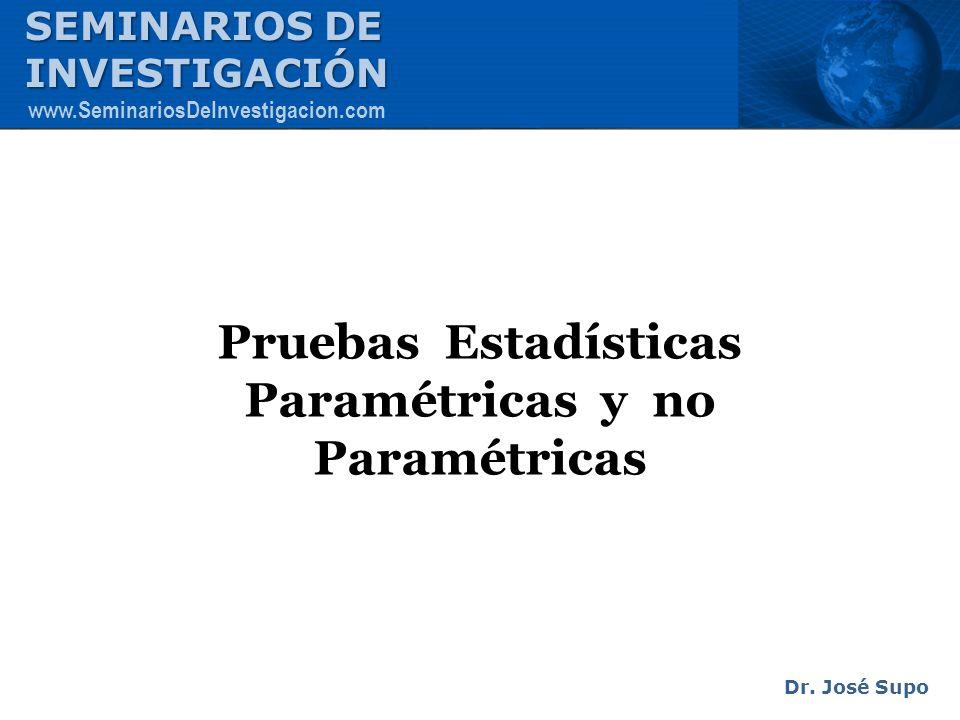 Pruebas Estadísticas Paramétricas y no Paramétricas Dr. José Supo SEMINARIOS DE INVESTIGACIÓN www.SeminariosDeInvestigacion.com