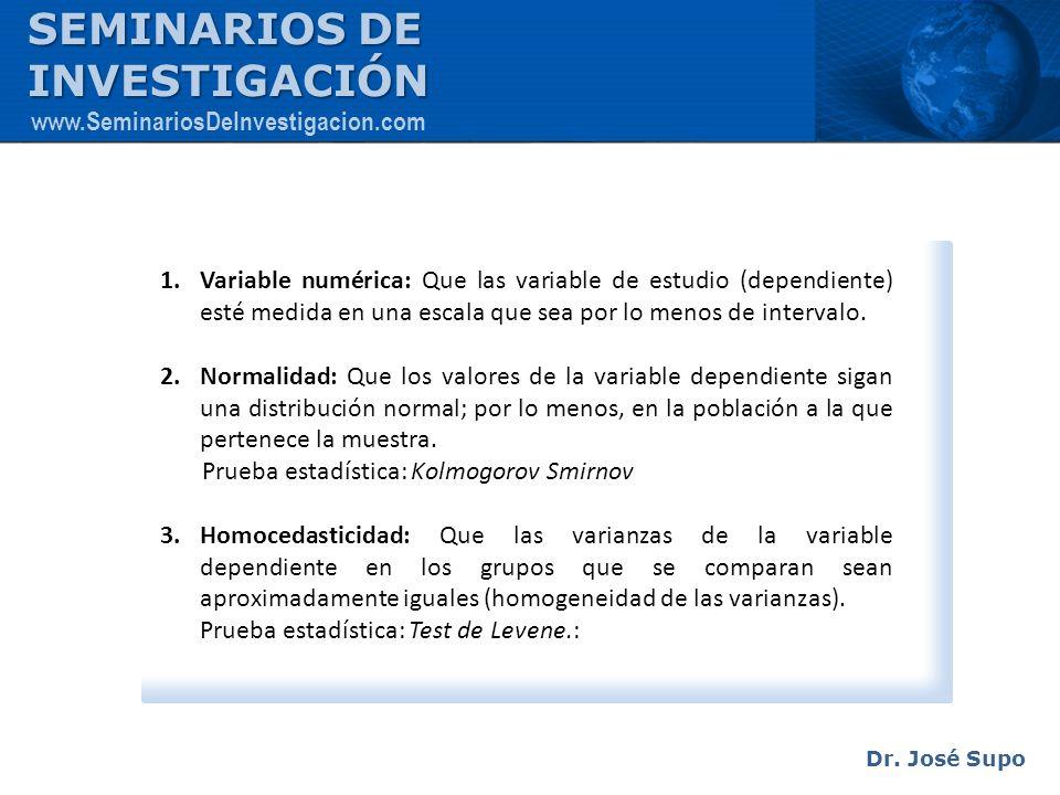 1.Variable numérica: Que las variable de estudio (dependiente) esté medida en una escala que sea por lo menos de intervalo. 2.Normalidad: Que los valo